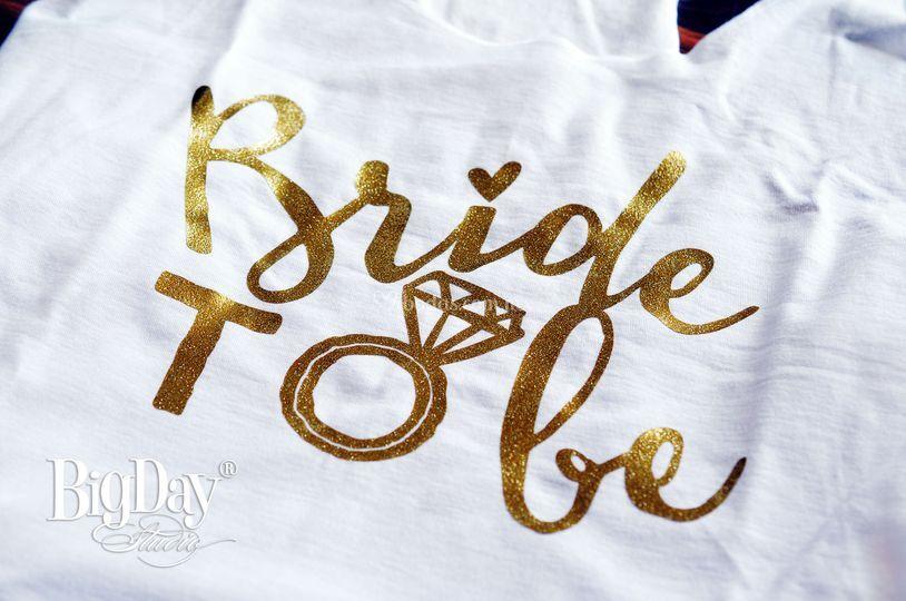 T-shirt con Glitter Dorado