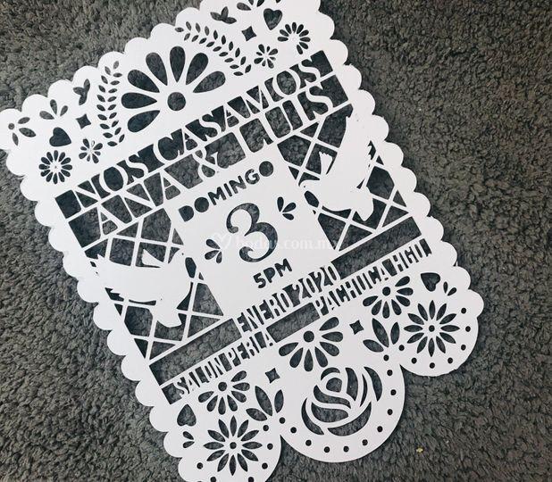 Invitación papel cortado