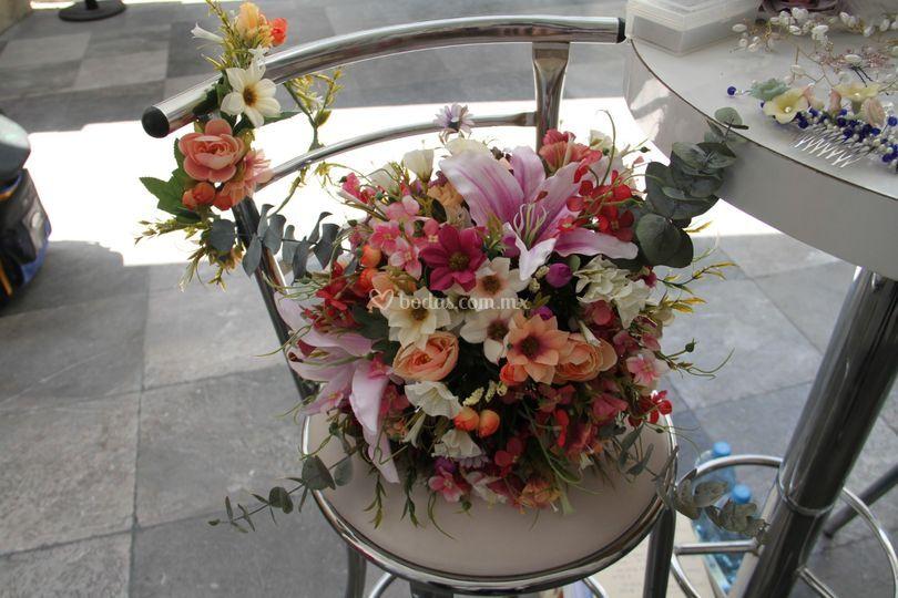 Ramo y corona flor artificial