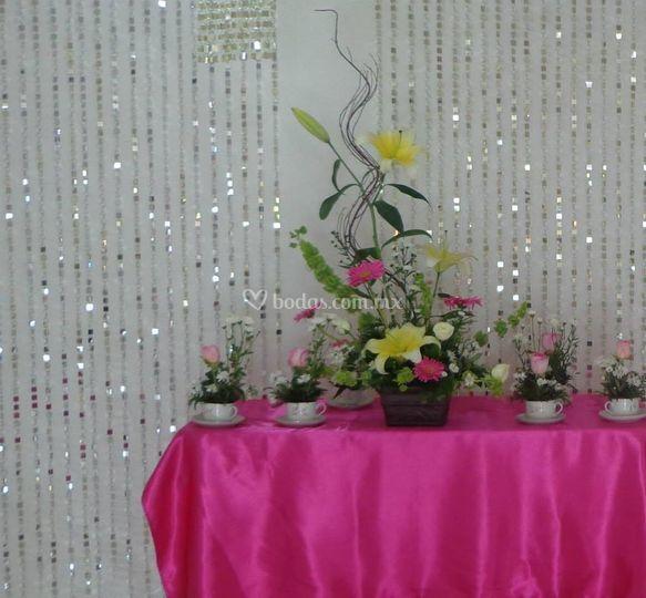 Mesa de flores