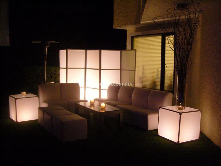Cubos iluminados para las sala