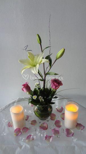 Centro de mesa y velas led