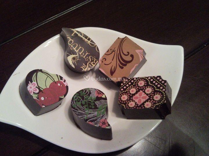 Chocolate transfer prediseñado