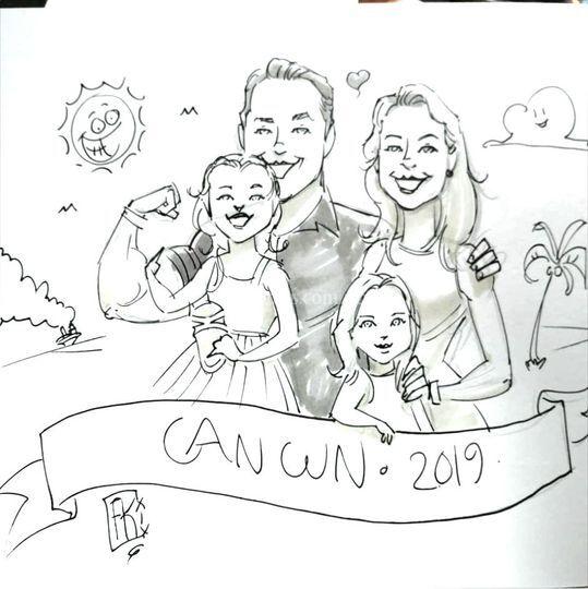 Ejemplo de caricatura familiar