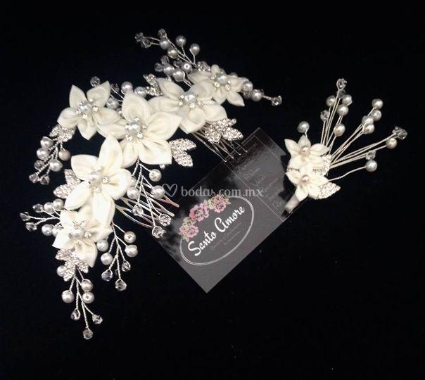 Tocado flor tela