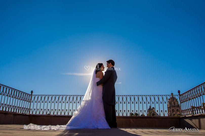 Cielo azul de boda