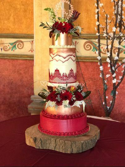 Pastel de boda rojo 2