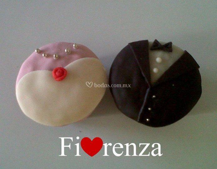 Muffins novia y novio