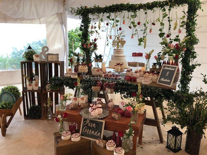 Mesa para boda mixta