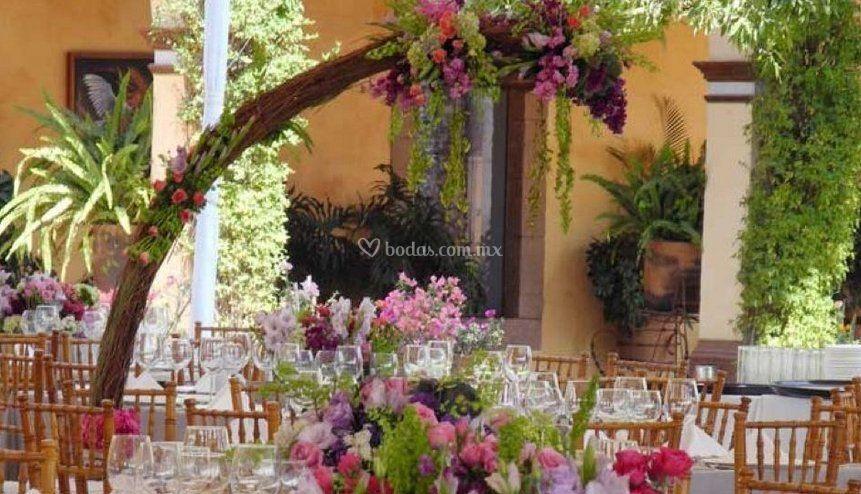 Decoración con flores de Hacienda Viborillas