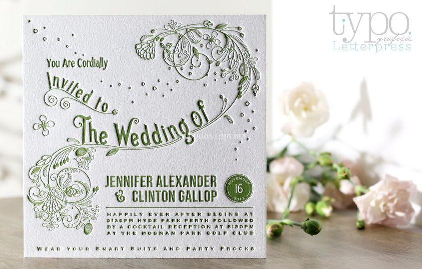 Invitación letterpress floral
