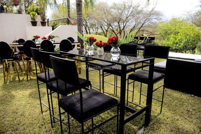 Mesa bar cristal negro