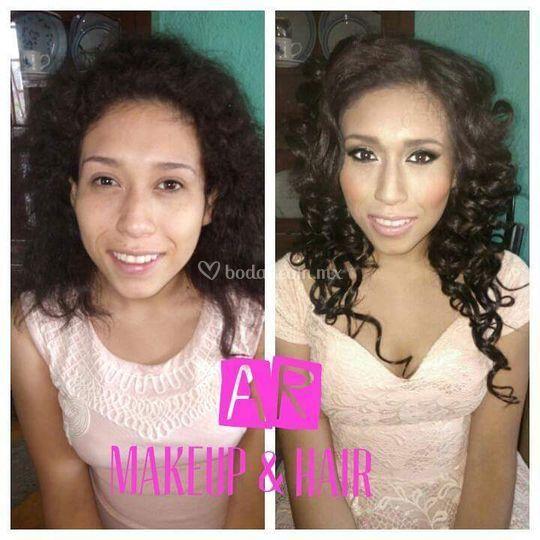 Antes y después maquillaje social