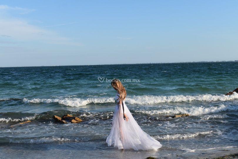Vestido boda en playa