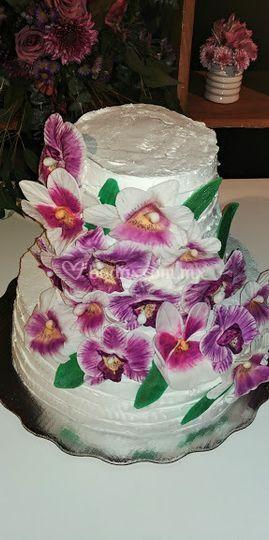 Pastel de orquídeas de azúcar