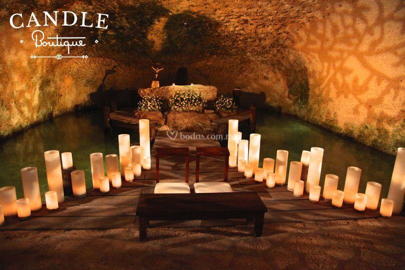 Decoracion altar en cenote