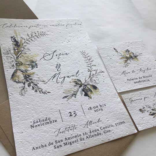 Invitación en papel semilla
