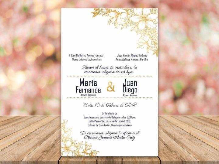 Invitación flores doradas
