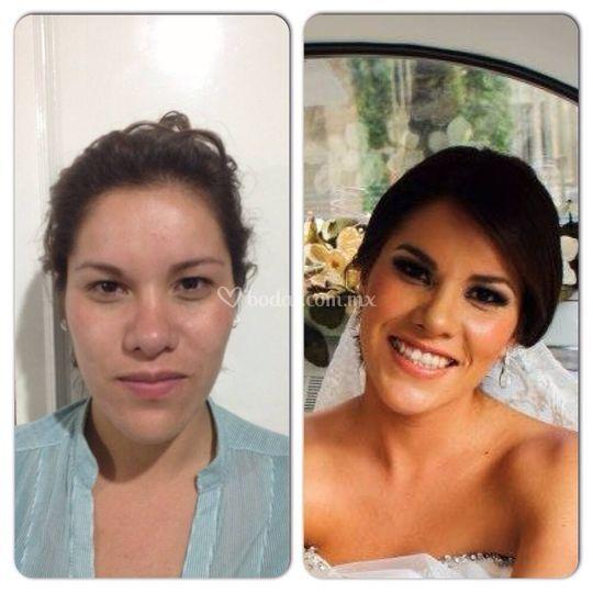 Novia antes y después