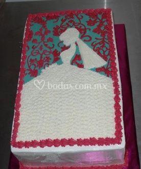 Pastel decorado con novia