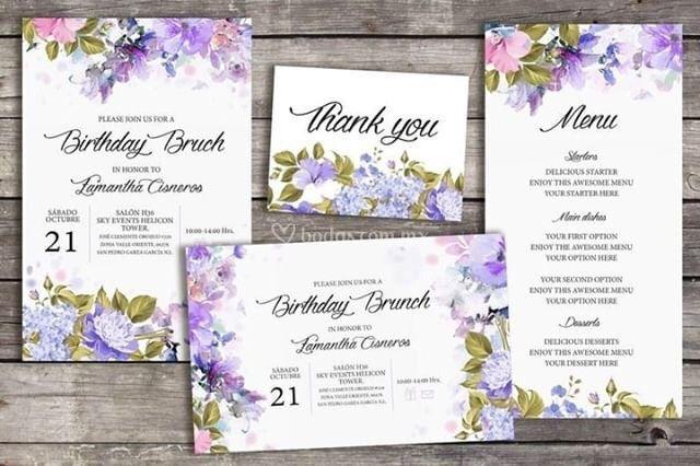 Invitación Flores de Color