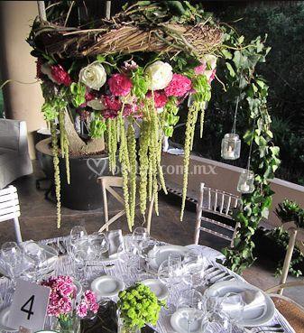 Flores con base para mesa