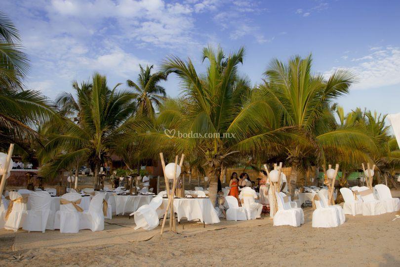 Vista de la playa al evento