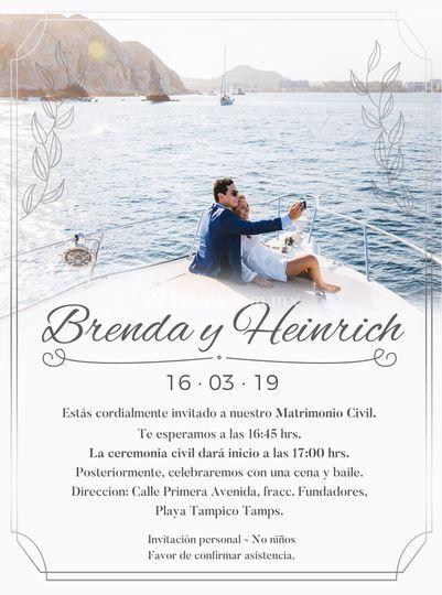 Invitación boda civil