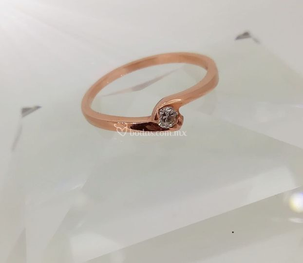 Solitario rose gold 14kt