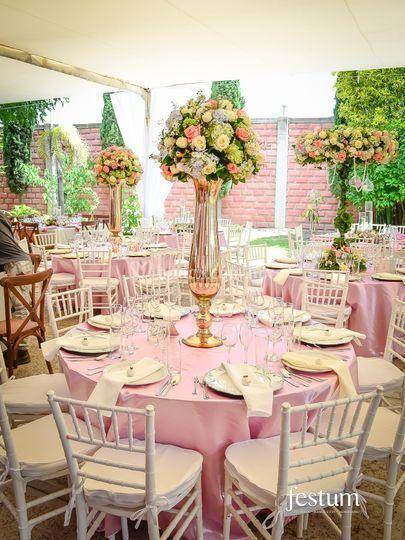 Floreros oro rosa