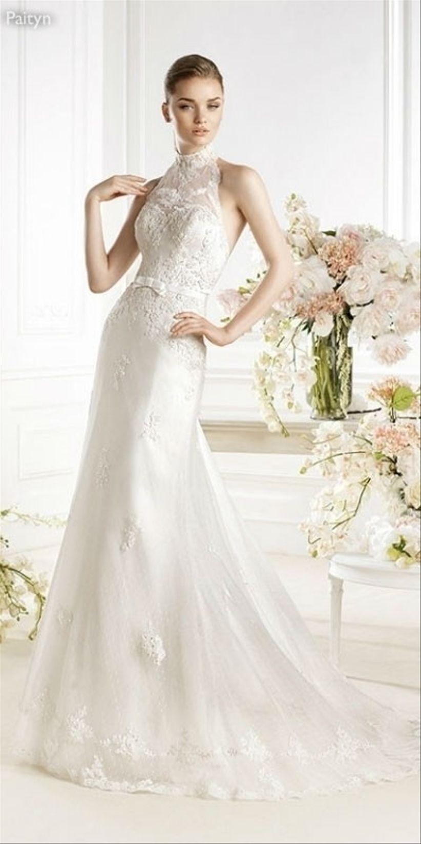 vestido de novia con escote halter - bodas.mx