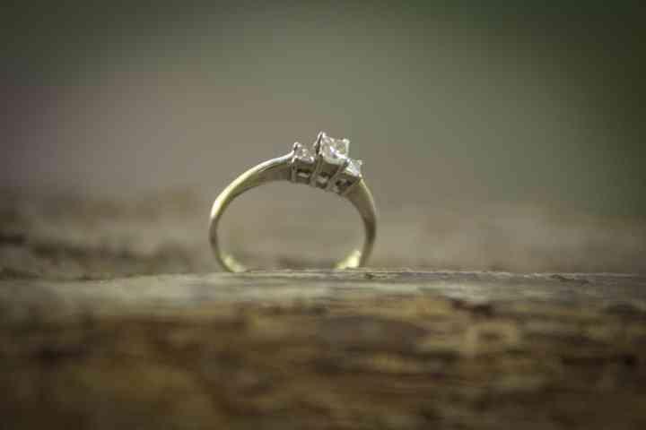 solitario anillo de compromiso sobre arbol