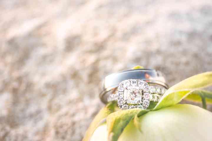 anillo de compromiso y argolla sobre planta