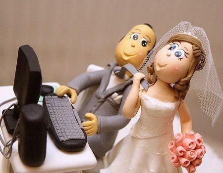Los mu�ecos del pastel de boda