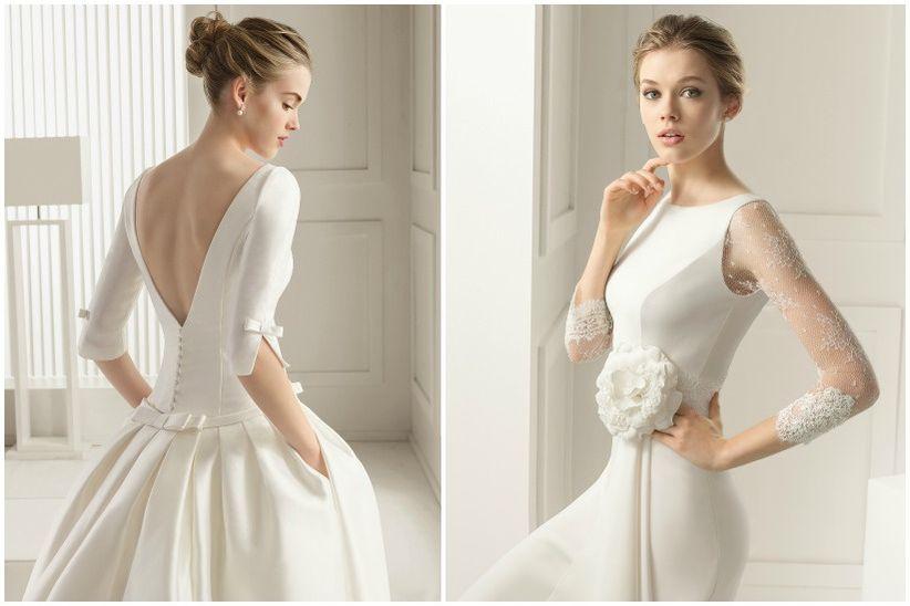 vestidos de novia con mangas tres cuartos - bodas.mx