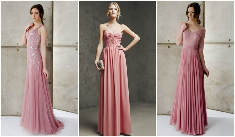 Vestidos rosas largos elegantes