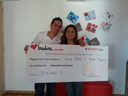 Los ganadores del sorteo de Bodas.com.mx
