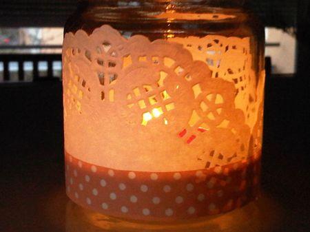 Porta velas con blondas y cinta washitape