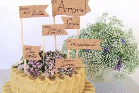 Haz el topper de tu pastel de bodas