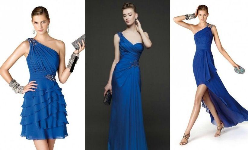 Vestido azul rey para boda de dia