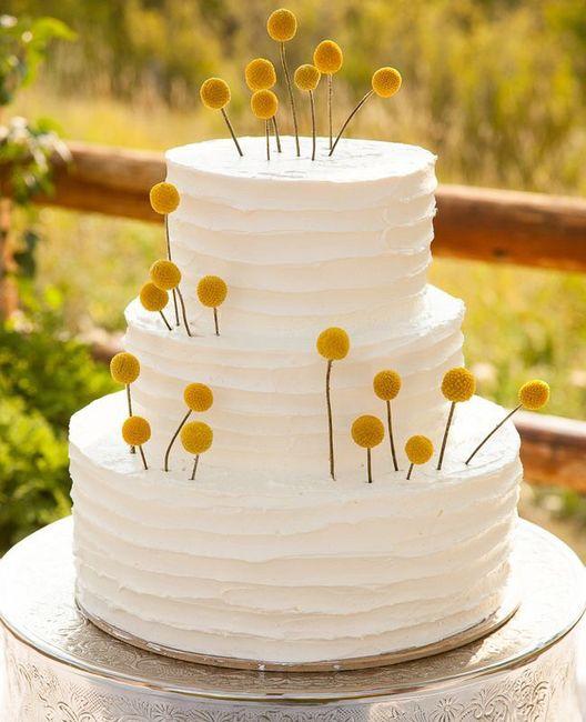 Pastel de bodas con toques amarillos 5