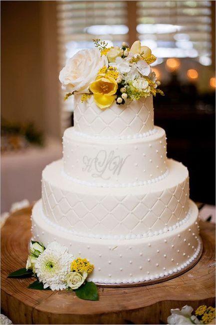 Pastel de bodas con toques amarillos 17