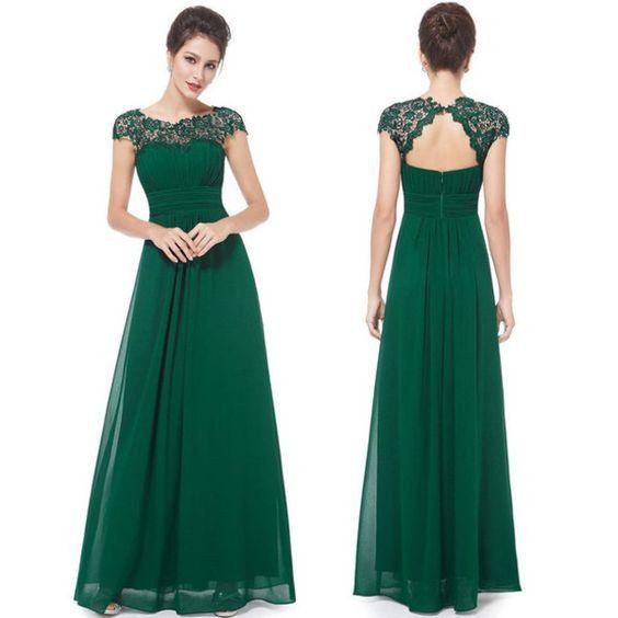 Vestido de noche verde bandera