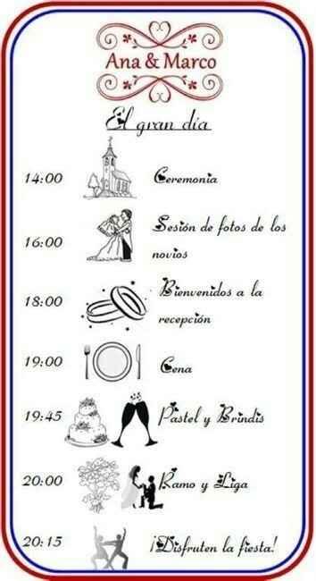 Itinerario de la boda - 2