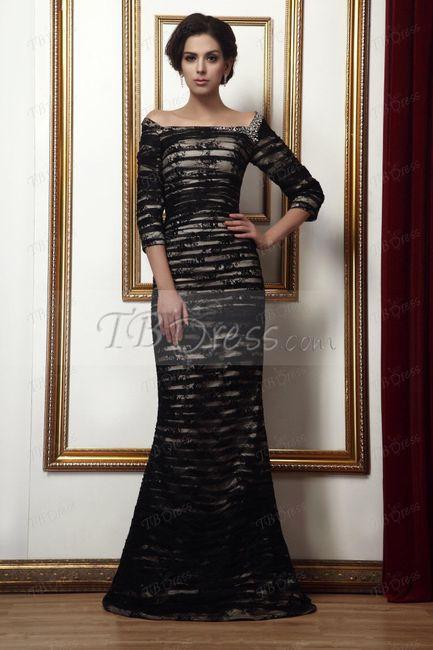 Vestido beige y negro boda