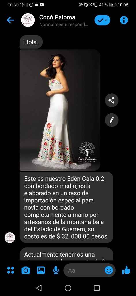 Vestido novia bordado mexicano - 1