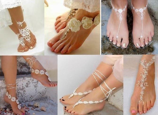 sandalias y adornos para los pies de la novia en playa - foro moda