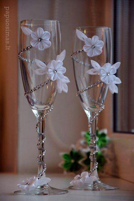 Copas para el brindis foro manualidades para bodas - Como decorar copas para boda ...