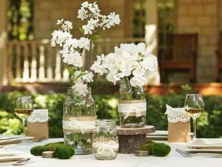 Centros de mesa cristal, vintage y velas - 2