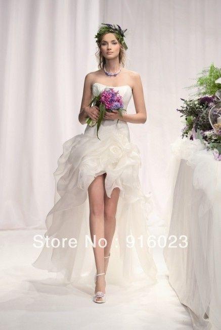 Vestido novia corto con cola